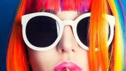 colourful image of girl in sunglasses - website design process - web design by so